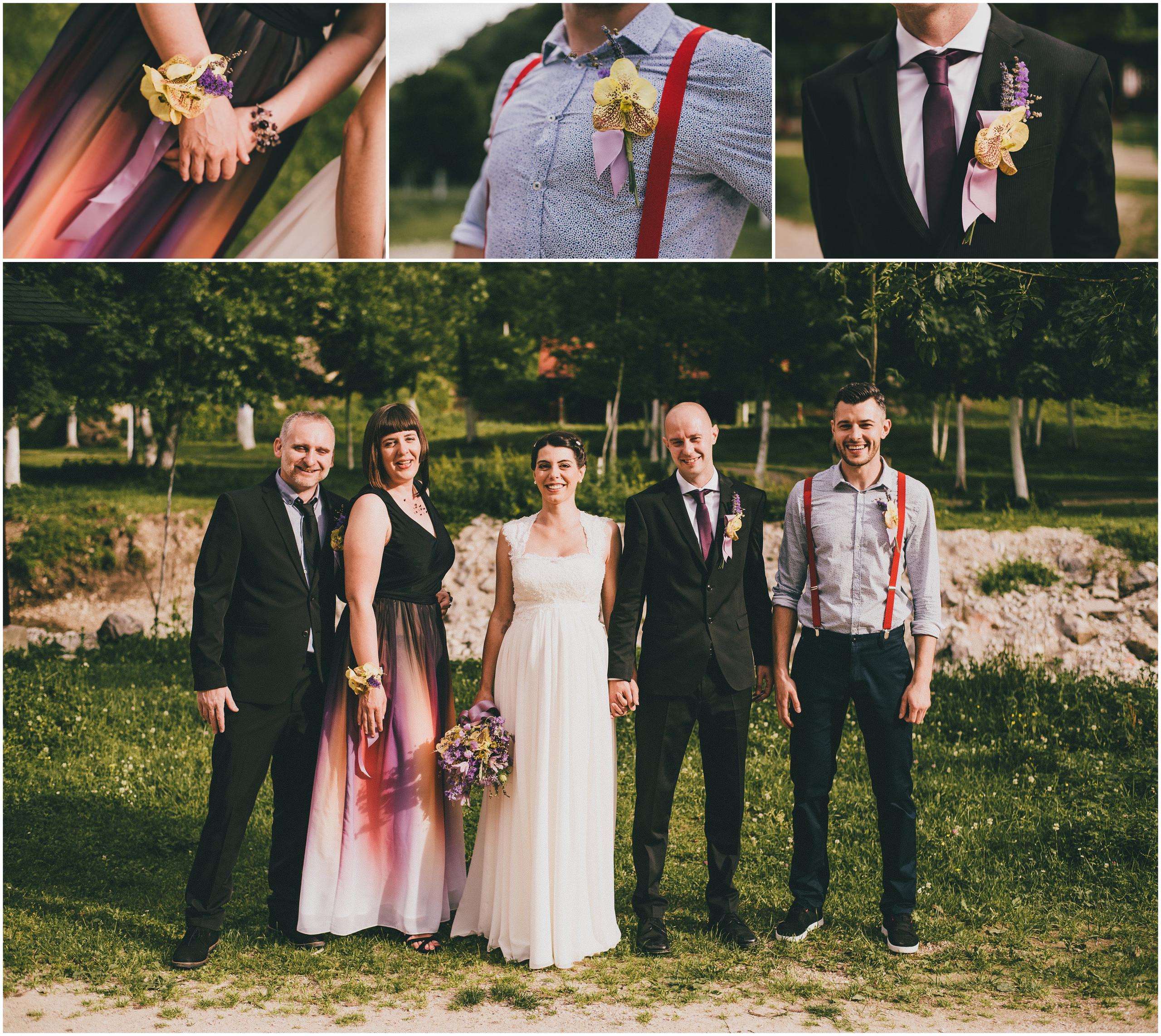 Vjenčanje na otvorenom Divlje Vode, fotografija mladenaca s kumovima