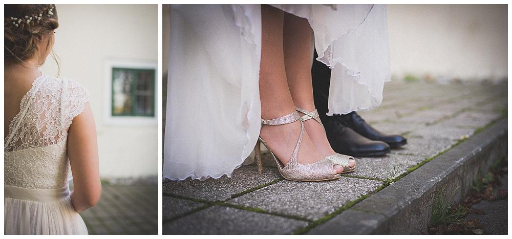 Detalji vjenčanice i cipele