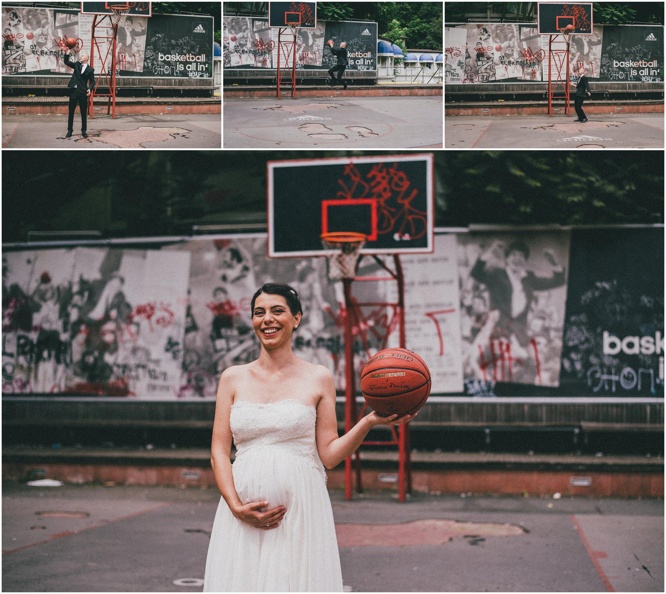 Mladenka s košarkaškom loptom, uz pozadinu slika trofejnih godina Cibone i Dražena Petrovića