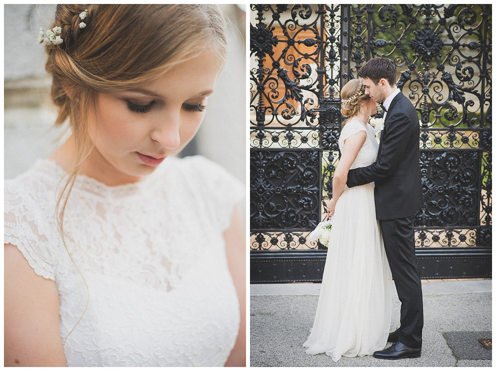 Detalji vjenčanice i mladenci
