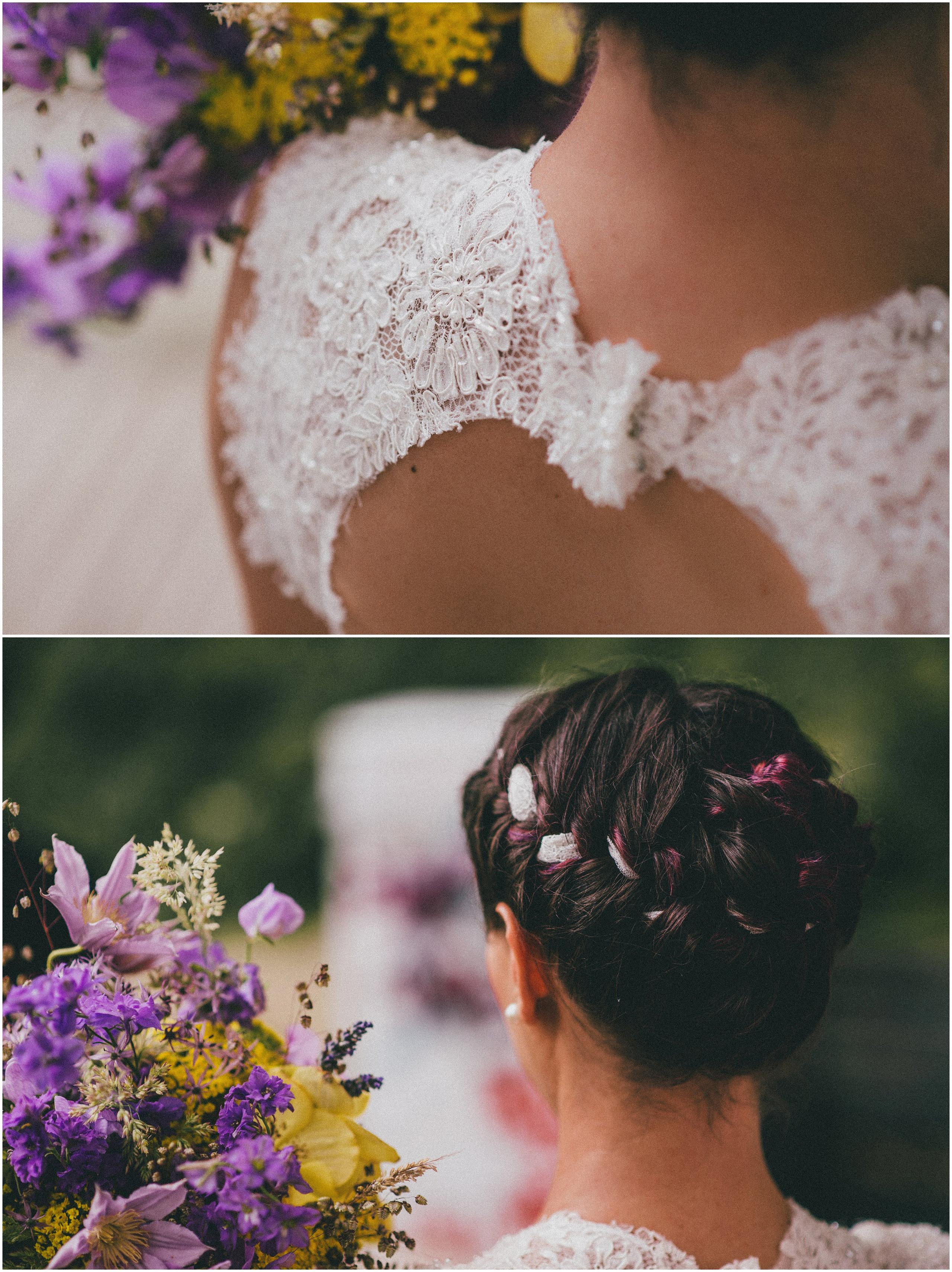 Detalji na vjenčanici i vjenčani buket Saša Šekoranja