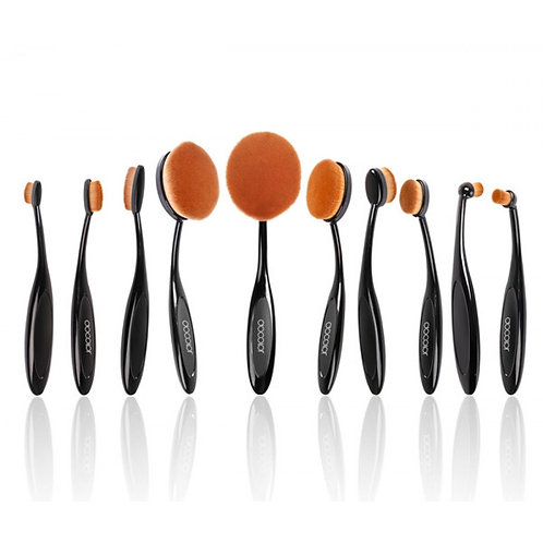 10 Pieces Oval Makeup Brush Set Black