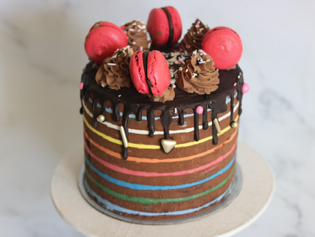Rainbow Stripes On Chocolate Ganache Cake