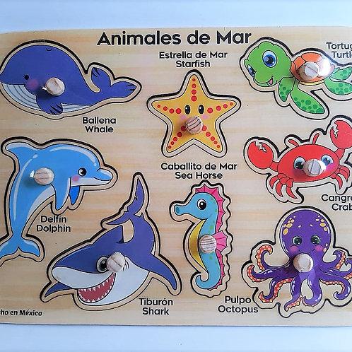 Rompecabezas con Pija de Madera animales del Mar
