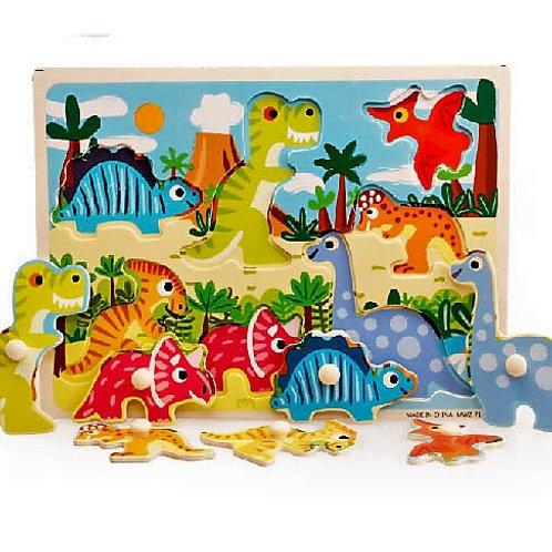 Rompecabezas de madera con pinza Dinosaurios