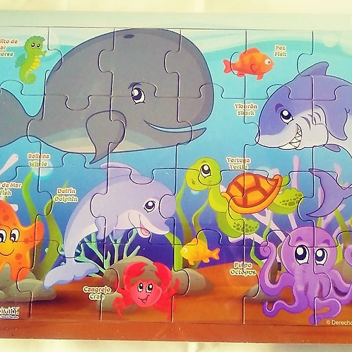 Rompecabezas 24 pzas-Animales de Mar