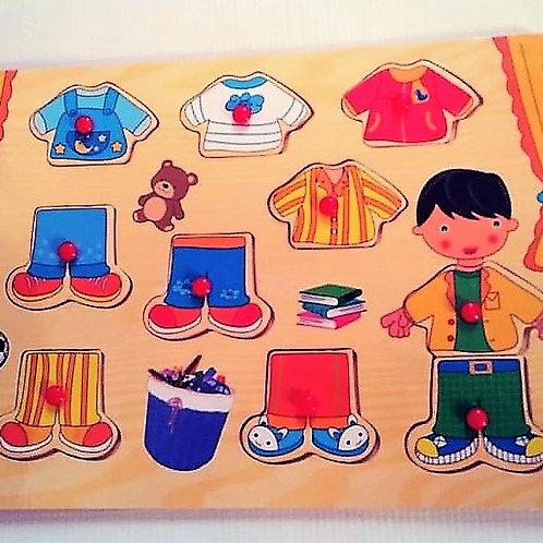 Rompecabezas para vestir con pinzas -Niño