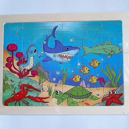Rompecabezas de madera- Animales del Oceano