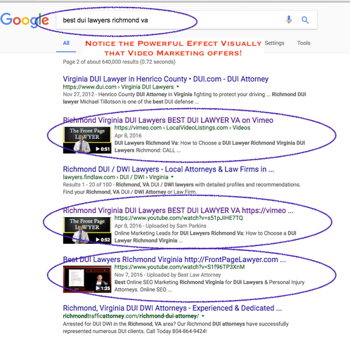 SERP examples on page one with VIdeo SEO