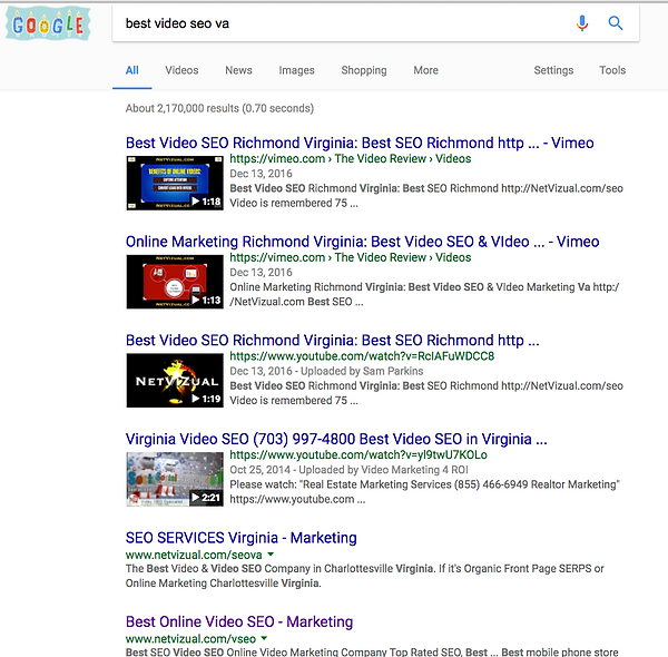 Video SEO Online Marketing SEP examples