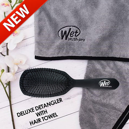 DELUXE DETANGLER WITH HAIR TOWEL Wet Brush