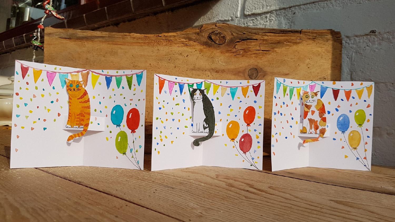 Katten verjaardags 3d kaart