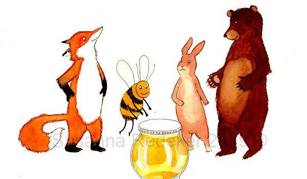 Bij komt langs met een pot honing.
