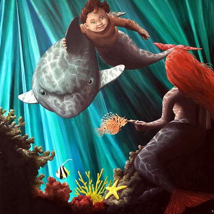 Tavla Målning Akrylmålning Sagomotiv Sjöjungfru Delfin