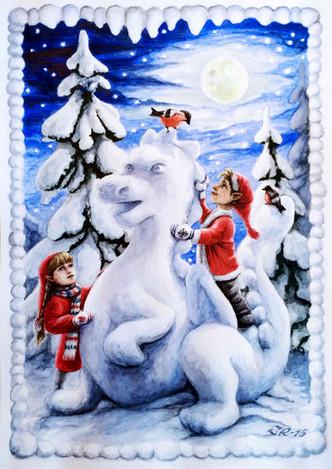 Tavla Målning Akvarell Saga Sagomotiv Vintermålning Vinter Jul Tomtenissar Snödrake