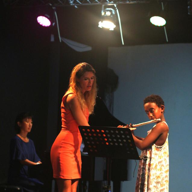 Tijdens de repetitie van het concert voor de eerste graad