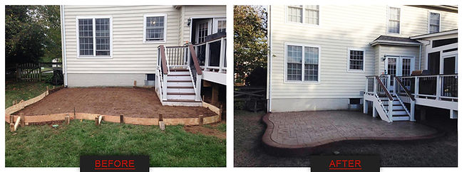 Stamped concrete patio, backyard patio, deck and patio, deck, trex deck, trex, composite wood, wood deck, patio, concret patio, decorative concrete, stamped concrete, concrete idea, stamped concrete patio ideas