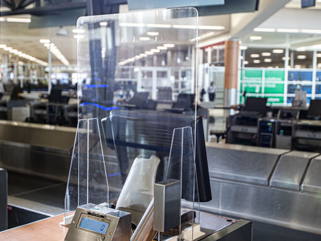 Delta-designed airport lobby and gate safety barriers on the way