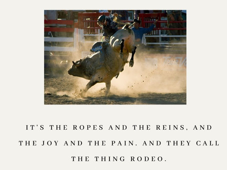 Take it 8 seconds at a time... lessons from the rodeo!