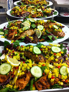 Firecracker Salmon & Salad w/ Radicchio, Spinach & Mango Salsa