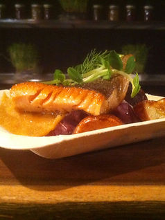 Pan-Seared Ontario Trout w/ Root Vegetable Puree & Roasted Blue Potatoes