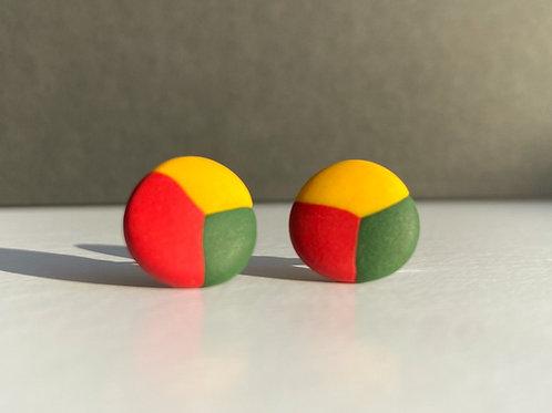 Stud Earrings Lithuanian Flag Colored Circle