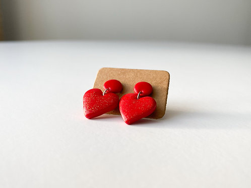 Heart Shaped Hanging Earrings with Tiny Golden spots