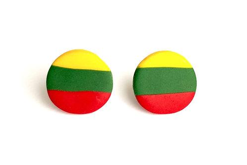 Stud Earrings Lithuanian Flag Colored Circles