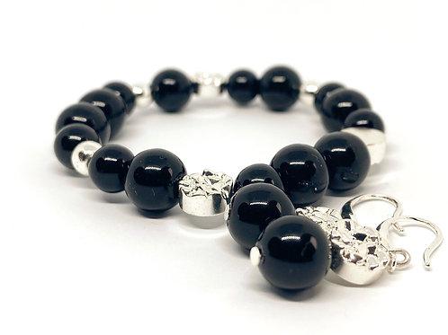 "Modern Black And Silver Natural Stone Bead Bracelet ""Tema"""
