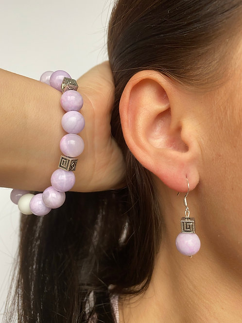"""Female Earrings And Bracelet Kit """"Žiedlapis"""" natural  Jade Chalcedony"""
