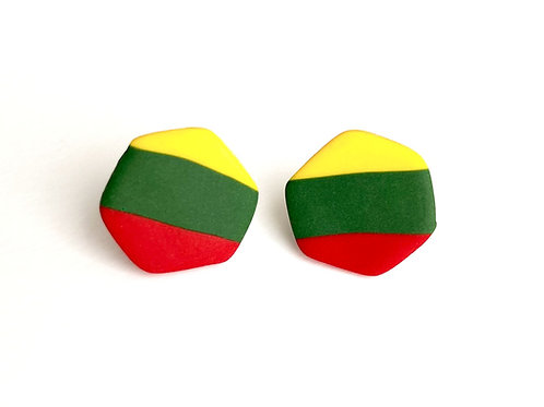 Stud Earrings Lithuanian Flag Colored hypoallergenic