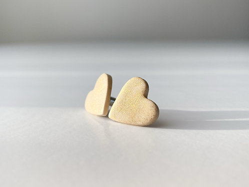 Heart Shaped Stud Earrings with Gold Colored Coating