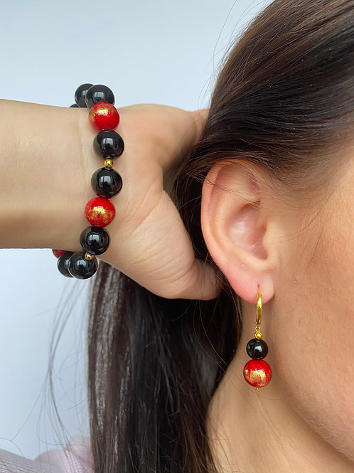 """Female Earrings And Bracelet Kit """"Puota"""" with natural red color Jade stone beads"""