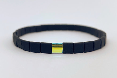 "Mate black with green and yellow center piece male and female bracelet ""Tiles"""