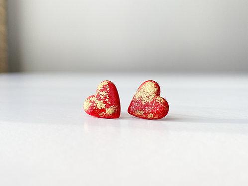 Heart Shaped Stud Earrings with Gold spots