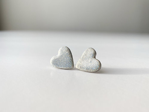 Heart Shaped Stud Earrings with Chromatic Silver Color Coating
