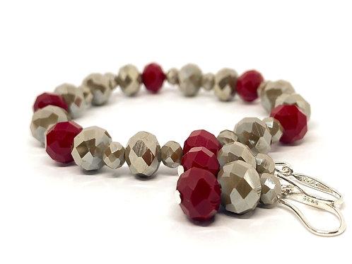 Cut Glass Bead Bracelet And Earrings Žarija.