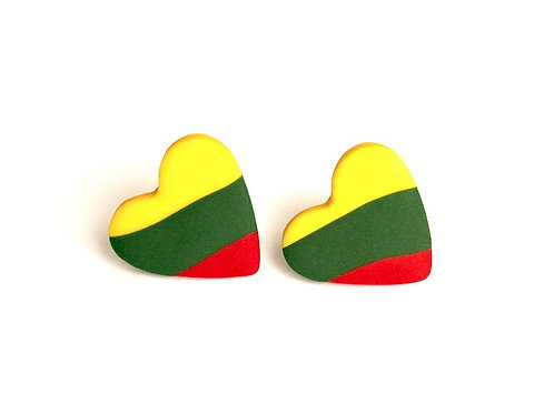 Stud Earrings Lithuanian Flag Color Heart