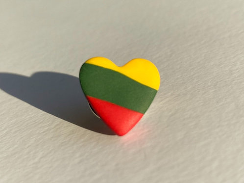 Pin Lithuanian Flag Colored Heart