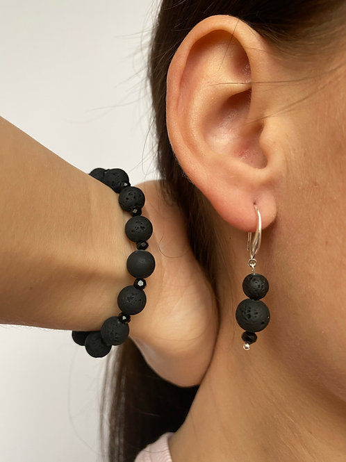 "Female Earrings And Bracelet Kit ""Dama"" with rubbery lava stone and black glass"