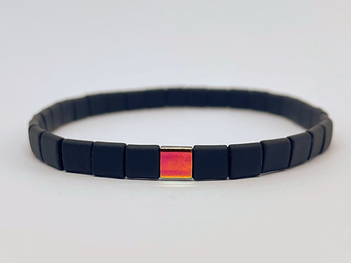 "Mate black with red and orange center piece male and female bracelet ""Tiles"""