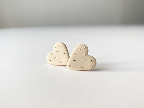Heart Shaped Stud Earrings with Tiny Silver colored beads