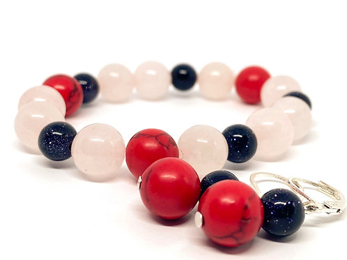 "Natural Stone Bead Bracelet High Contrast ""Plunksna"""