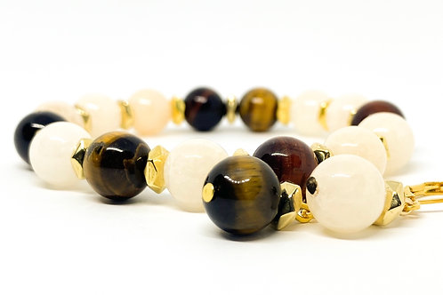 """Natural Tiger Eye Brown And Cream Color Stone Bracelet With Earrings """"Kaštonas"""""""
