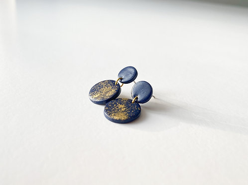 Dark Blue Colored Hanging Earrings with Gold Colored