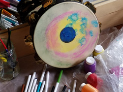 The sound of the drum being painted!