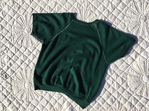 1970's Forest Green Contrast Stitch Short Sleeve Sweatshirt ladies M