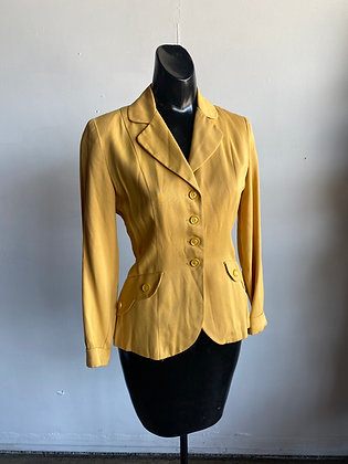1950's Yellow Ladies Rayon Blazer/ Jacket XS