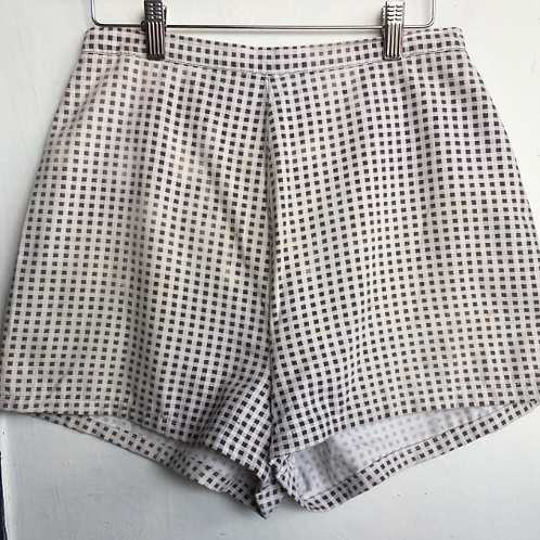1950's Vintage Ladies High Rise Hip Hugger Sun Faded Back Zip White Check Cotton