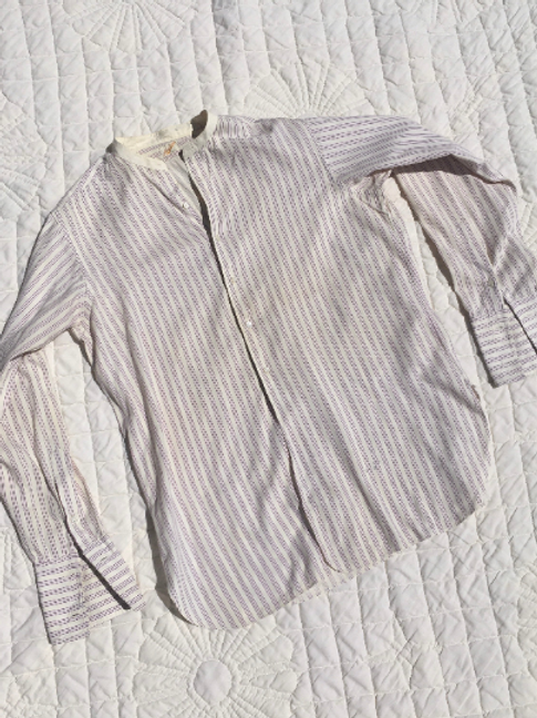 1920's/30's Madison Collarless Men's  Button Up Cream with Purple Stripe Shirt